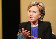 27 August 2007: Democratic presidential hopeful Senator Hillary Clinton (D-NY) answers a question at the LIVESTRONG Presidential Cancer Forum in Cedar Rapids, Iowa on August 27, 2007.
