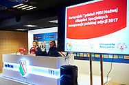 Warsaw, Poland - 2017 May 18: (L) Joanna Styczen - National General Director of Special Olympics Poland and (R) Karolina Hytrek-Prosiecka press officer of Ekstraklasa SA during press conference while the annual Special Olympics European Football Week at Legia Warsaw on May 18, 2017 in Warsaw, Poland.<br /> <br /> Adam Nurkiewicz declares that he has no rights to the image of people at the photographs of his authorship.<br /> <br /> Picture also available in RAW (NEF) or TIFF format on special request.<br /> <br /> Any editorial, commercial or promotional use requires written permission from the author of image.<br /> <br /> Image can be used in the press when the method of use and the signature does not hurt people on the picture.<br /> <br /> Mandatory credit:<br /> Photo by © Adam Nurkiewicz / Mediasport