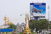 Phnom Penh, Cambodia. Cambodia-Japan Friendship Bridge across Tonle Sap.