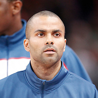 15 July 2012: Tony Parker of Team France warms up prior to a pre-Olympic exhibition game won 75-70 by Spain over France, at the Palais Omnisports de Paris Bercy, in Paris, France.