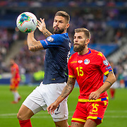 PARIS, FRANCE - September 10:  Olivier Giroud #9 of France and Moisés San Nicolás #15 of Andorra challenge for the ball during the France V Andorra, UEFA European Championship 2020 Qualifying match at Stade de France on September 10th 2019 in Paris, France (Photo by Tim Clayton/Corbis via Getty Images)