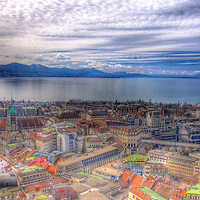 Lausanne on a cloudy spring day. Much like Hausmann's architectural  style of Paris, buildings here maintain the classic style, albeit among the twisting avenues of this lakeside city (HDR version)