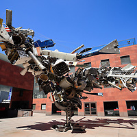 """The Museum of Contemporary Art (MOCA) in Los Angeles and sculpture named """"Mark Thompson's Airplane Parts"""" by Nancy Rubins."""