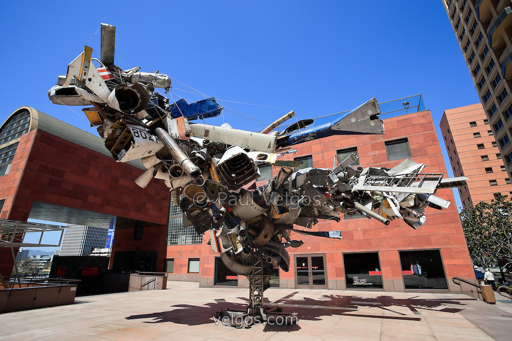 "The Museum of Contemporary Art (MOCA) in Los Angeles and sculpture named ""Mark Thompson's Airplane Parts"" by Nancy Rubins."