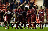 Photo: Jed Wee.<br /> Middlesbrough v Crystal Palace. Carling Cup. 30/11/2005.<br /> <br /> Middlesbrough celebrate their equaliser with some relief.