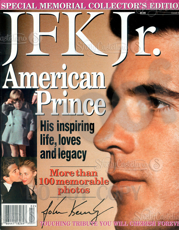 Aug 01, 1999; Tarrytown, NY, USA; Scan of cover JFK Jr. 'American Prince' Special Memorial Collector's Edition. Vol. V #2.  98 pages of JOHN F. KENNEDY JR's life in pictures. Published by American Media Inc. On July 19, 1999 JFK Jr and his wife died when their plane crashed off the coast of Martha's Vineyard. <br />Mandatory Credit: Photo by Unknown Photographer/JFK Jr./ZUMA Press.<br />(&copy;) Copyright 1999 by American Media Inc.