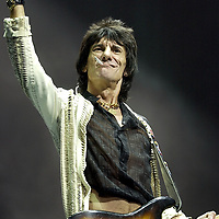 "Rolling Stones Ronnie Wood ""Start Me Up"" during the opening song of the ""Lick World Tour"" at the Office Depot Center, Tuesday, Oct. 22. 2002. in Sunrise, Fla. ( Photo/ Steve Mitchell)"