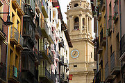 Cathedral Santa María la Real (Royal Saint Mary) street scene in Calle de Curia, Pamplona, Navarre, Spain