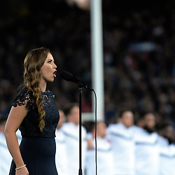 Rebecca Nelson sings La Marseillaise beforethe Steinlager Series international rugby match between teh New Zealand All Blacks and France at Eden Park in Auckland, New Zealand on Saturday, 9 June 2018. Photo: Dave Lintott / lintottphoto.co.nz