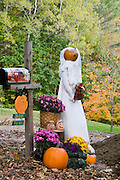 Fall display including a bride costume with a pumpkin head next to mailbox.