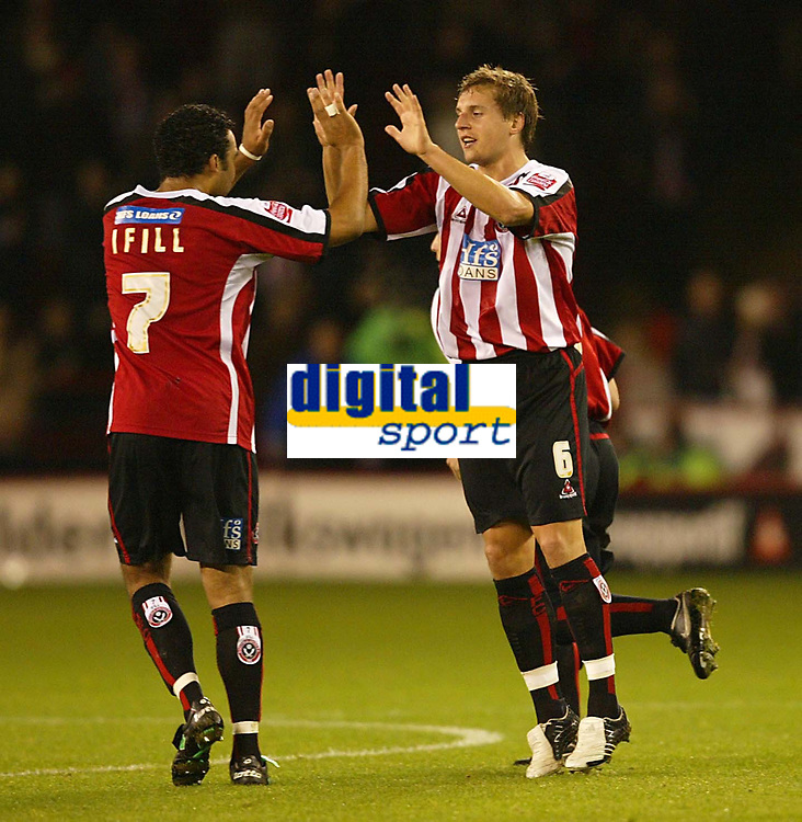 Photo: Aidan Ellis.<br /> Sheffield Utd v Luton Town. Coca Cola Championship.<br /> 01/11/2005.<br /> Sheffield's Phil Jagielka celebrates his goal with Paul Ifill