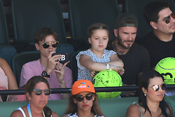 KEY BISCAYNE, FL - APRIL 01 : Victoria Beckham and David Beckham seen watching John Isner Vs Alexander Zverev during the mens final during the 2018 Miami Open at Crandon Park Tennis Center on April 1, 2018 in Key Biscayne, Florida. CAP/MPI04 ©MPI04/Capital Pictures. 01 Apr 2018 Pictured: Romeo Beckham, Harper Beckham, David Beckham. Photo credit: MPI04/Capital Pictures / MEGA TheMegaAgency.com +1 888 505 6342