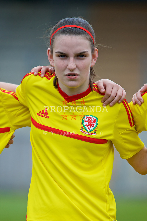 NEWPORT, WALES - Friday, April 1, 2016: Wales' Samantha Wynne lines-up during the national anthem against England during Day 1 of the Bob Docherty International Tournament 2016 at Dragon Park. (Pic by David Rawcliffe/Propaganda)