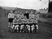 15/02/1958<br /> 02/15/1958<br /> 15 February 1958<br /> Soccer: FAI Cup game, Bohemians v Evergreen United at Dalymount Park, Dublin. The Evergreen Team.