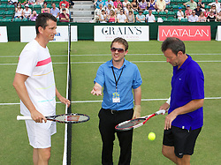 MANCHESTER, ENGLAND: Jorg Krieger tosses the coin before Richard Krajicek (NED) takes on Jeremy Bates (GBR) on Day 4 of the Manchester Masters Tennis Tournament at the Northern Tennis Club. (Pic by David Tickle/Propaganda)
