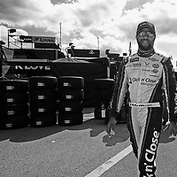 Darrell Wallace Jr., driver of the #43 Click n' Close Chevrolet is seen during practice for the 60th Annual NASCAR Daytona 500 auto race at Daytona International Speedway on Friday, February 16, 2018 in Daytona Beach, Florida.  (Alex Menendez via AP)