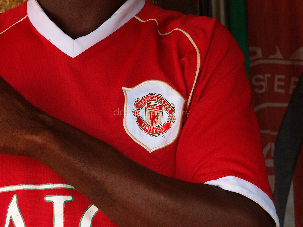 A fan wear a Man U t-shirt, Kroo Ba, Freetown, Sierra Leone