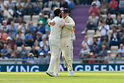 Wicket - Moeen Ali of England celebrates with Joe Root of England who took the catch to take the wicket of Hardik Pandya of India during day two of the fourth SpecSavers International Test Match 2018 match between England and India at the Ageas Bowl, Southampton, United Kingdom on 31 August 2018.