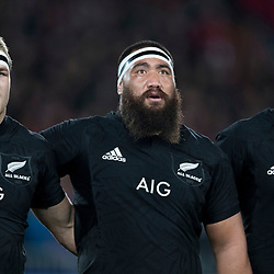 Rieko Ioane Charlie Faumuina Sam Cane during game 7 of the British and Irish Lions 2017 Tour of New Zealand, the first Test match between  The All Blacks and British and Irish Lions, Eden Park, Auckland, Saturday 24th June 2017<br /> (Photo by Kevin Booth Steve Haag Sports)<br /> <br /> Images for social media must have consent from Steve Haag