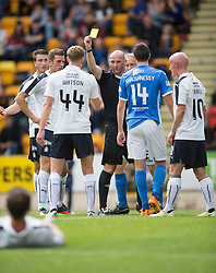 Ref Bobby Madde books Falkirk's Paul Watson after giving the second penalty. St Johnstone 3 v 0 Falkirk, Group B, Betfred Cup, played 23/7/2016 at St Johnstone's home ground, McDiarmid Park.