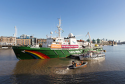 "© Licensed to London News Pictures. 19/11/2016. LONDON, UK.  The Greenpeace ship, MY Esperanza arrives and moors at Butlers Wharf, near Tower Bridge in central London with a banner calling on the supermarket Sainsbury's to ""stop killing our oceans"".   The Esperanza has recently returned from the Indian Ocean where Greenpeace worked to expose destructive fishing practices of John West and its owner Thai Union, which claim to show harm to all kinds of marine life including sharks and turtles in the pursuit of the tuna fish, which is sold by Sainsbury's supermarket. Tesco and Waitrose supermarkets have already committed to remove John West's tuna from their shelves, but Sainsbury's currently still sells and profit from John West tuna. Photo credit: Vickie Flores/LNP"