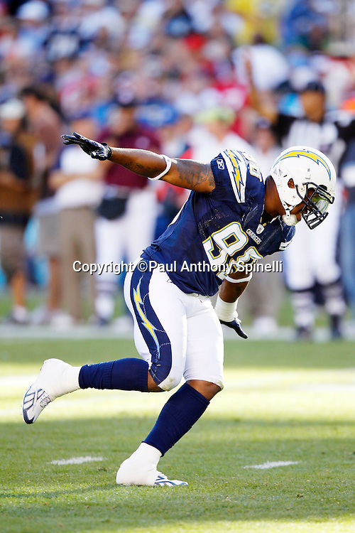 San Diego Chargers linebacker Antwan Barnes (98) celebrates with an airplane dance after making a quarterback sack during the NFL week 14 football game against the Kansas City Chiefs on Sunday, December 12, 2010 in San Diego, California. The Chargers won the game 31-0. (©Paul Anthony Spinelli)