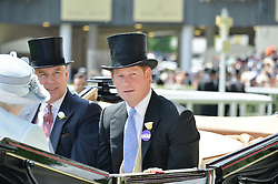 Left to right, HRH THE DUKE OF YORK and HRH PRINCE HARRY at the first day of the 2014 Royal Ascot Racing Festival, Ascot Racecourse, Ascot, Berkshire on 17th June 2014.