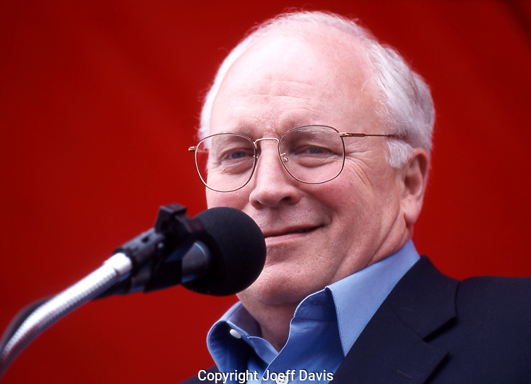 CHICAGO, IL - September 4, 2000: Dick Cheney campaigning for the 2000 Bush/Cheney ticket at the The Taste of Polonia festival, a Polish festival in the Jefferson Park neighborhood of Chicago, Labor Day weekend 2000.