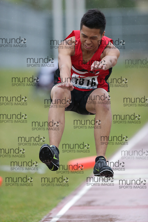 Rodon Gutierrez of St Elizabeth CHS - Thornhill competes in the senior boys triple jump at the 2013 OFSAA Track and Field Championship in Oshawa Ontario, Thursday,  June 6, 2013.<br /> Mundo Sport Images / Sean Burges