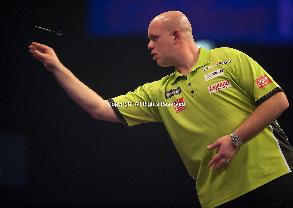 01.01.2014.  London, England.  William Hill PDC World Darts Championship.  Quarter Final Round.  Michael van Gerwen (1) [NED] in action during his game with Robert Thornton (9) [SCO]