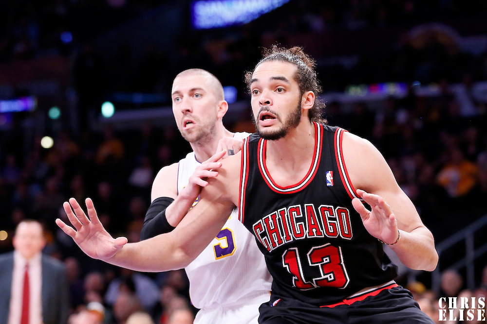 09 February 2014: Chicago Bulls center Joakim Noah (13) vies for the rebound with Los Angeles Lakers point guard Steve Blake (5) during the Chicago Bulls 92-86 victory over the Los Angeles Lakers at the Staples Center, Los Angeles, California, USA.