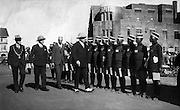 British officers carry out a staff inspection in downtown Nairobi of the first Nubian group to be appointed by the Kenya Bus Service Limited.  (1934)