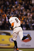 San Francisco Giants right fielder Hunter Pence (8) rounds second base after hitting a home run against the Colorado Rockies at AT&T Park in San Francisco, Calif., on September 27, 2016. (Stan Olszewski/Special to S.F. Examiner)