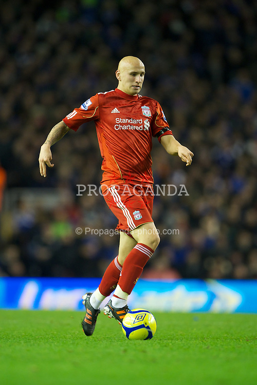 LIVERPOOL, ENGLAND - Friday, January 6, 2012: Liverpool's Jonjo Shelvey in action against Oldham Athletic during the FA Cup 3rd Round match at Anfield. (Pic by David Rawcliffe/Propaganda)