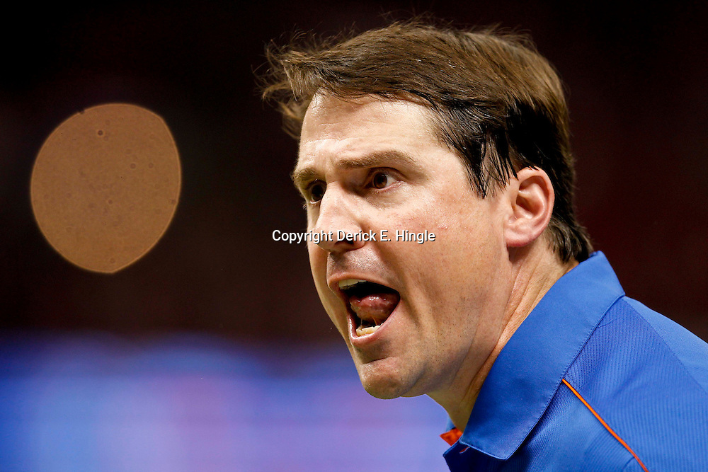 Jan 2, 2013; New Orleans, LA, USA; Florida Gators head coach Will Muschamp scream at an official during the third quarter of the Sugar Bowl against the Louisville Cardinals at the Mercedes-Benz Superdome.  Mandatory Credit: Derick E. Hingle-USA TODAY Sports