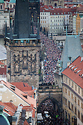 About 10000 Czech citizens accompanied the remains of Vaclav Havel from the Old Town part in Prague across Charles Bridge   up to Prague Castle, the seat of Czech presidents. The image shows the mourning procession crossing Charles Bridge.