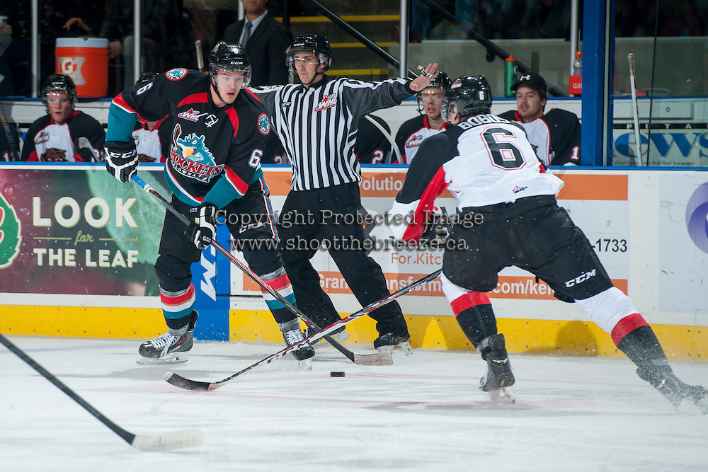 KELOWNA, CANADA - OCTOBER 19: Mitchell Wheaton #6 of the Kelowna Rockets makes a pass against the Prince George Cougars on October 19, 2013 at Prospera Place in Kelowna, British Columbia, Canada.   (Photo by Marissa Baecker/Shoot the Breeze)  ***  Local Caption  ***