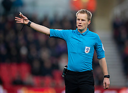 STOKE-ON-TRENT, ENGLAND - Saturday, January 25, 2020: Referee Gavin Ward during the Football League Championship match between Stoke City FC and Swansea City FC at the Britannia Stadium. (Pic by David Rawcliffe/Propaganda)