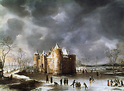 The Castle of Muiden in Winter', 1658, oil on canvas. Jan Beerstraten (1622-1666) Dutch landscape painter.  14th century castle surrounded by ice with skaters, bare trees and snow on ground under a a grey sky.
