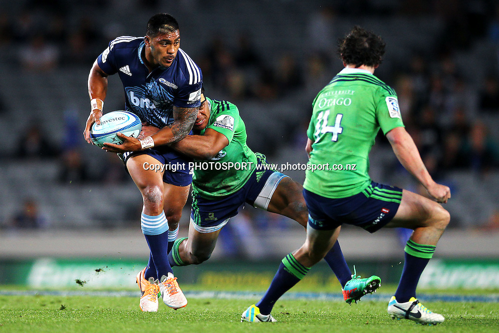 Pita Ahki of the Blues in action. Super Rugby rugby union match, Blues v Highlanders at Eden Park, Auckland, New Zealand. Saturday 29th March 2014. Photo: Anthony Au-Yeung / photosport.co.nz