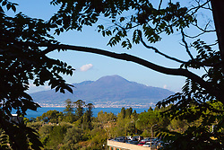 Sorrento, Italy, September 18 2017. Mount Vesuvius is seen across the Bay of Naples from Sorrento, Italy. © Paul Davey