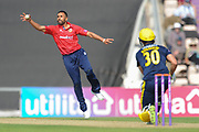 Ravi Bopara of Essex fielding off his own bowling during the Royal London One Day Cup match between Hampshire County Cricket Club and Essex County Cricket Club at the Ageas Bowl, Southampton, United Kingdom on 23 May 2018. Picture by Dave Vokes.
