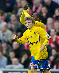 LIVERPOOL, ENGLAND - Saturday, January 26, 2008: Havant and Waterlooville's Alfie Potter (hidden) celebrates the second goal against Liverpool during the FA Cup 4th Round match at Anfield. (Photo by David Rawcliffe/Propaganda)