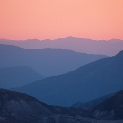 Mountain Ridges at Sunset, Mt. St. Helens National Volcanic Monument, Washington, US