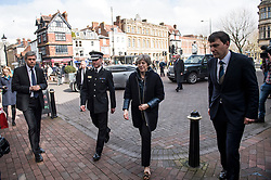 © Licensed to London News Pictures. 15/03/2018. Salisbury, UK. British Prime Minister THERESA MAY is seen during a visit to Salisbury, Wiltshire where Former Russian spy Sergei Skripal and his daughter Yulia were found after being poisoned with nerve agent. The couple where found unconscious on bench in Salisbury shopping centre. A policeman who went to their aid is currently recovering in hospital. Photo credit: Ben Cawthra/LNP