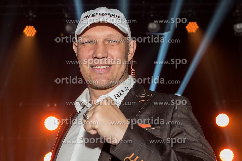 12.03.2016, Jahnsportforum, Neubrandenburg, GER, Boxgala, WBA Weltmeisterschaftskampf, im Bild v.l. Axel Schulz, Boxer, Moderator SAT1 // during the WBA Light Heavyweight World Championship Boxgala at the Jahnsportforum in Neubrandenburg, Germany on 2016/03/12. EXPA Pictures &copy; 2016, PhotoCredit: EXPA/ Eibner-Pressefoto/ Koch<br /> <br /> *****ATTENTION - OUT of GER*****