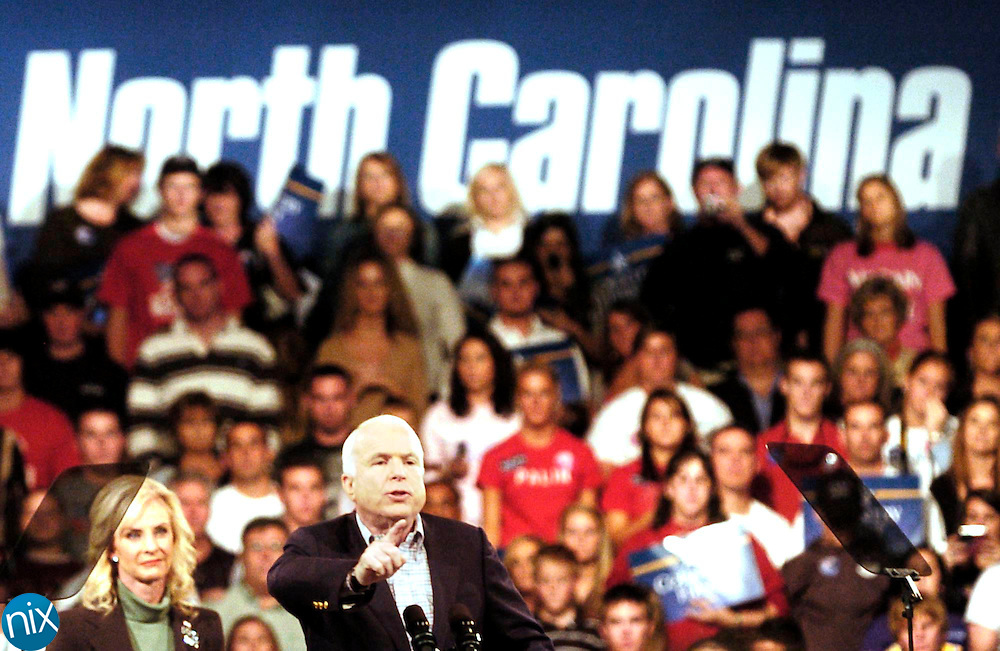 Republican Presidential Candidate John McCain addresses supporters during a campaign stop at the Cabarrus Arena & Events Center Saturday, October 18, 2008.