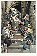 Christ healing the sick brought to him in the villages. Bible: Mark 6. From JJ Tissot 'The Life of our Saviour Jesus Christ' c1890. Oleograph