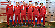 Warsaw, Poland - 2017 December 11: (L-R) Wojciech Marek and Piotr Zurawiecki and Kacper Zuk and Michal Mikula and Mikolaj Lorens and Filip Kolasinski pose to the team picture while Photo Session of Davis Cup Team of Polish Tennis Association at Regent Hotel on December 11, 2017 in Warsaw, Poland.<br /> <br /> Mandatory credit:<br /> Photo by © Adam Nurkiewicz / Mediasport<br /> <br /> Adam Nurkiewicz declares that he has no rights to the image of people at the photographs of his authorship.<br /> <br /> Picture also available in RAW (NEF) or TIFF format on special request.<br /> <br /> Any editorial, commercial or promotional use requires written permission from the author of image.