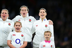 Sarah Hunter of England sings the national anthem - Mandatory byline: Patrick Khachfe/JMP - 07966 386802 - 26/11/2016 - RUGBY UNION - Twickenham Stadium - London, England - England Women v Canada Women - Old Mutual Wealth Series.